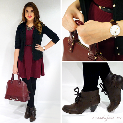 There's a shiny new #OOTD on the #blog today! Have you peeped it yet?  http://saradujour.me/post/62491604527/ootd-black-burgundy