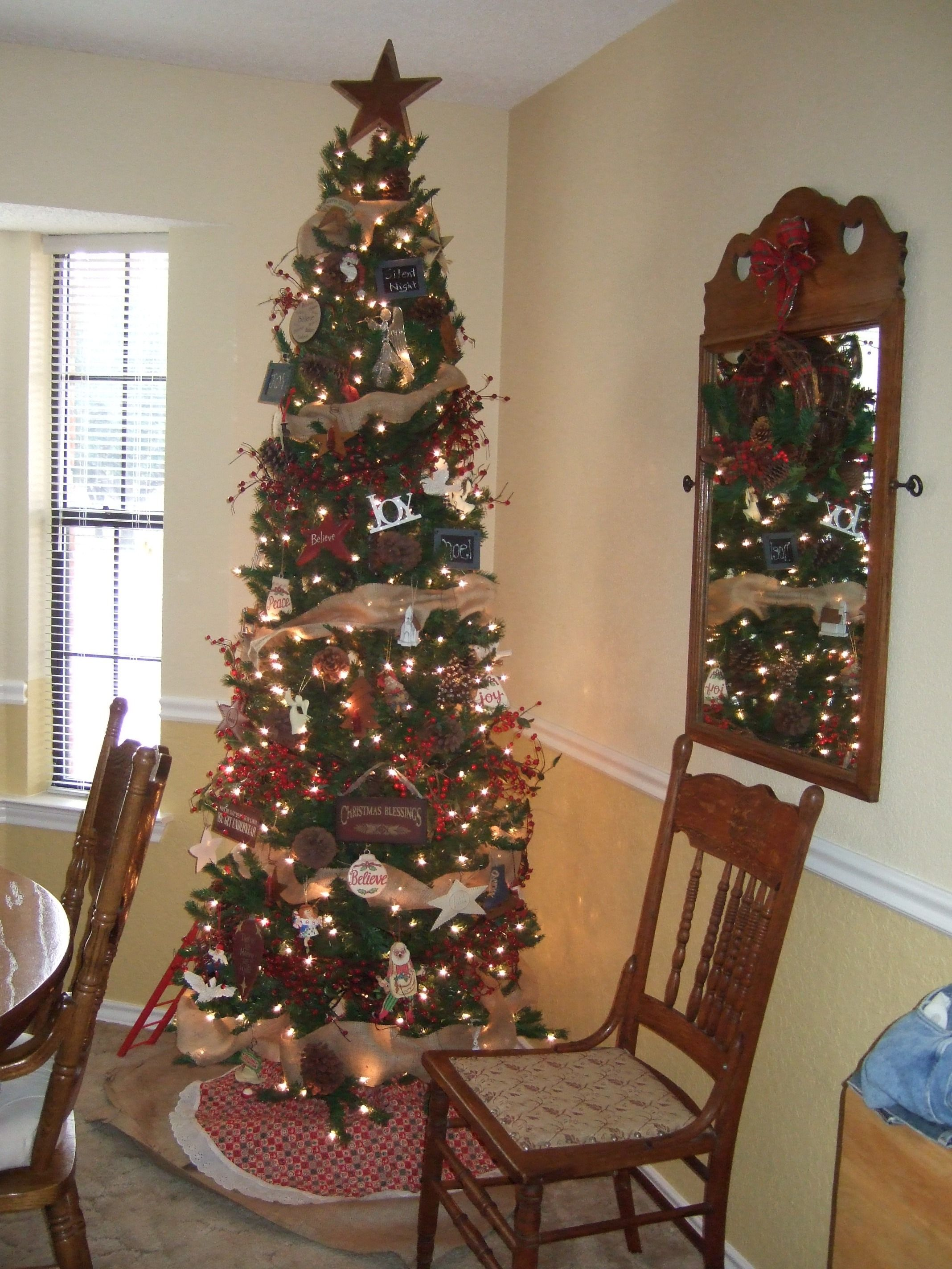 Tree with burlap garland made from burlap bags!   Pencil ...