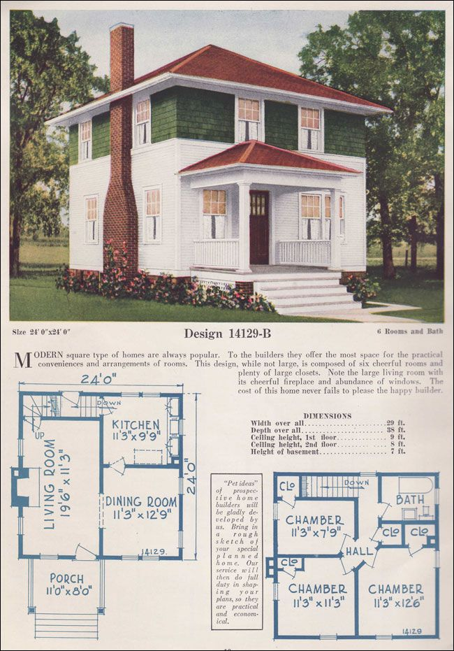 1925 Foursquare Traditional C L Bowes Co Pyramidal Hipped Roof Four Square Homes Hip Roof Basement Bedrooms