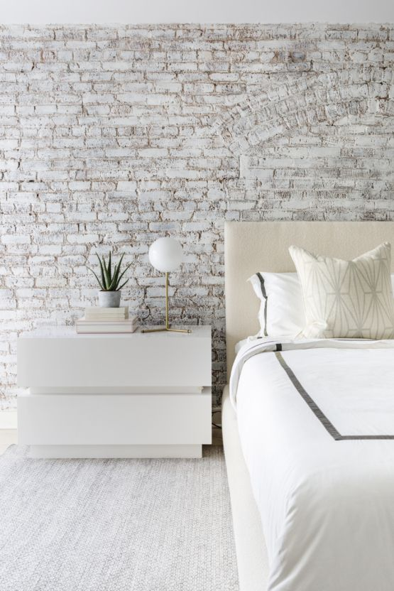 White Washed Brick Wall Simple Orb Light On The White Modern Nightstand White Color Pallet I Brick Wall Bedroom Brick Interior Wall Brick Wallpaper Bedroom