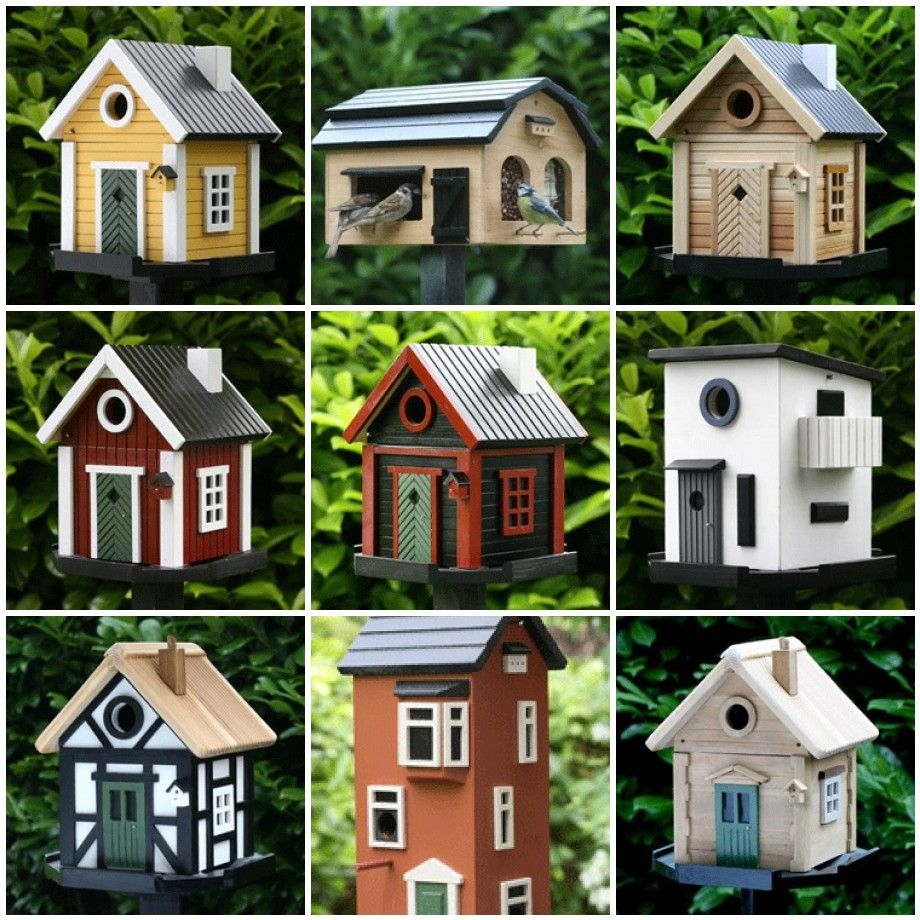 Build A Whole Village With 16 Different Styles There Is A Birdhouse With Cool Scandiavian Style Bird House Plans Free Homemade Bird Houses Cool Bird Houses
