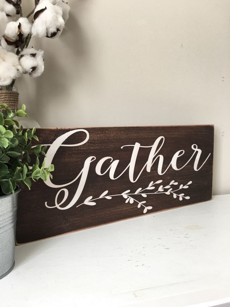 Wall Decor Signs For Home Endearing Gather Hand Painted Wood Sign  Gather Sign  Distressed Rustic Review