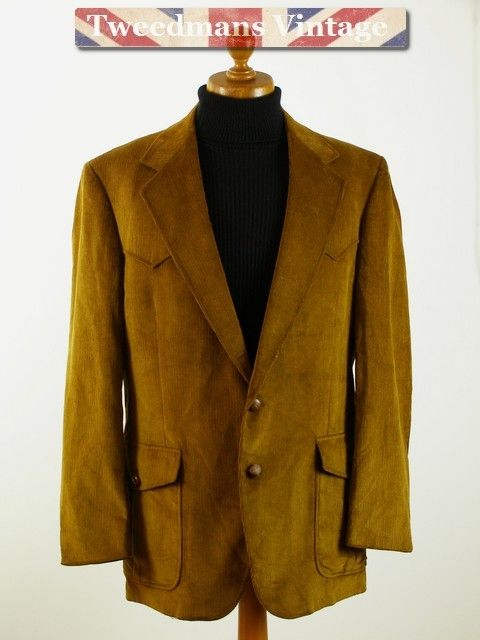 Tan corduroy mens jacket, western style with belted back.