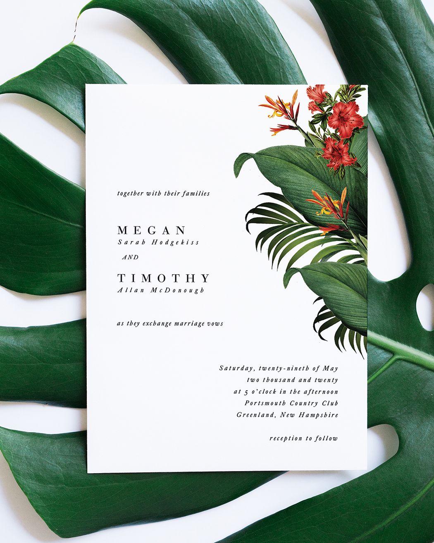 Minimalist Tropical Wedding Invitation With Banana Leaf Backer And