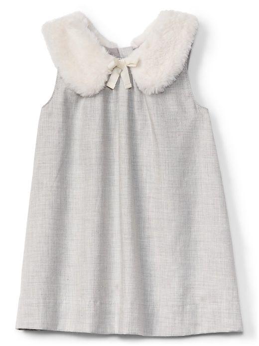 cb1e7bae18 Gap Baby Faux-Fur Collar Shift Dress New Heather Grey