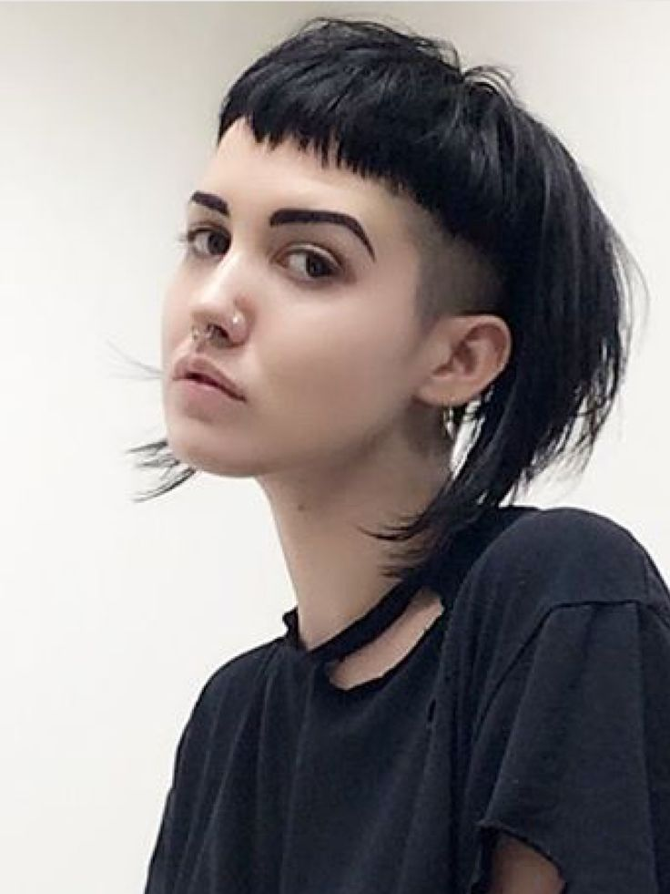Photo of shaved sides and back with long pixie cut and block fringe