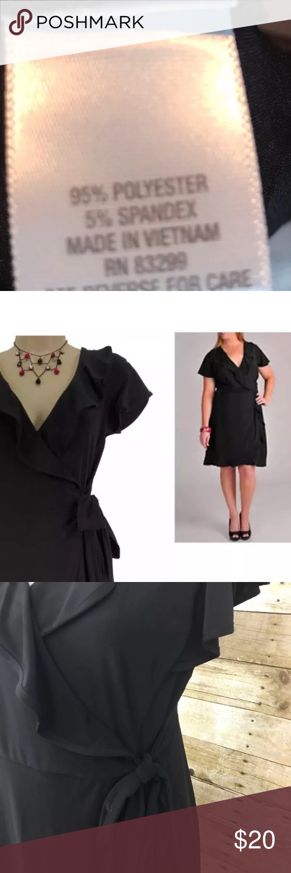 Dress barn black wrap ruffle dress large dressbarn womens black