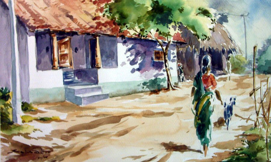 Indian Village Street Painting By Seni 900x540 Jpeg Modern