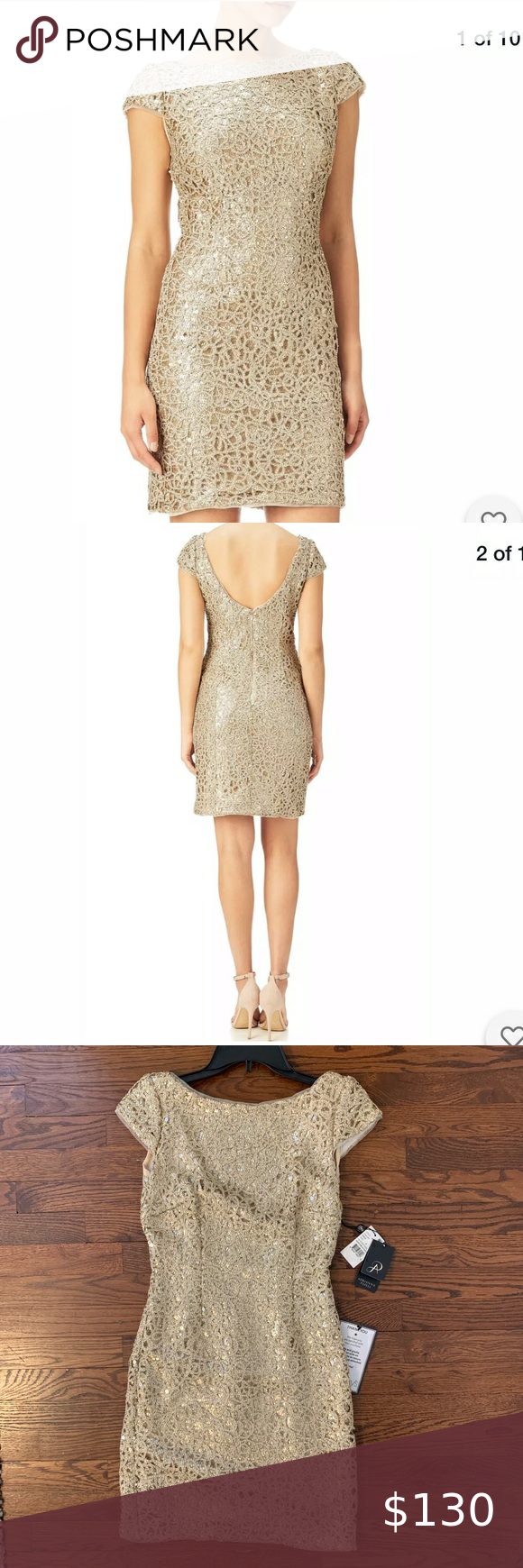 Adrianna Papell Sequin Gold Shift Dress Size 2 Shift Dress Dresses Colorful Dresses [ 1740 x 580 Pixel ]