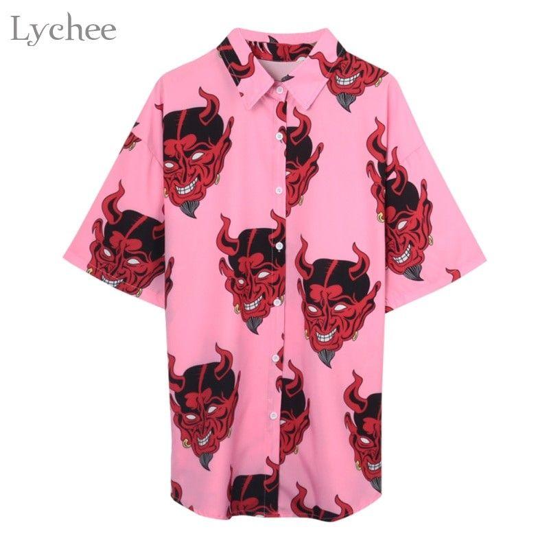 6fa69aa99 Lychee Harajuku Demon Print Summer Women Blouse Punk Gothic Casual Loose  Short Sleeve Shirt Tops Female