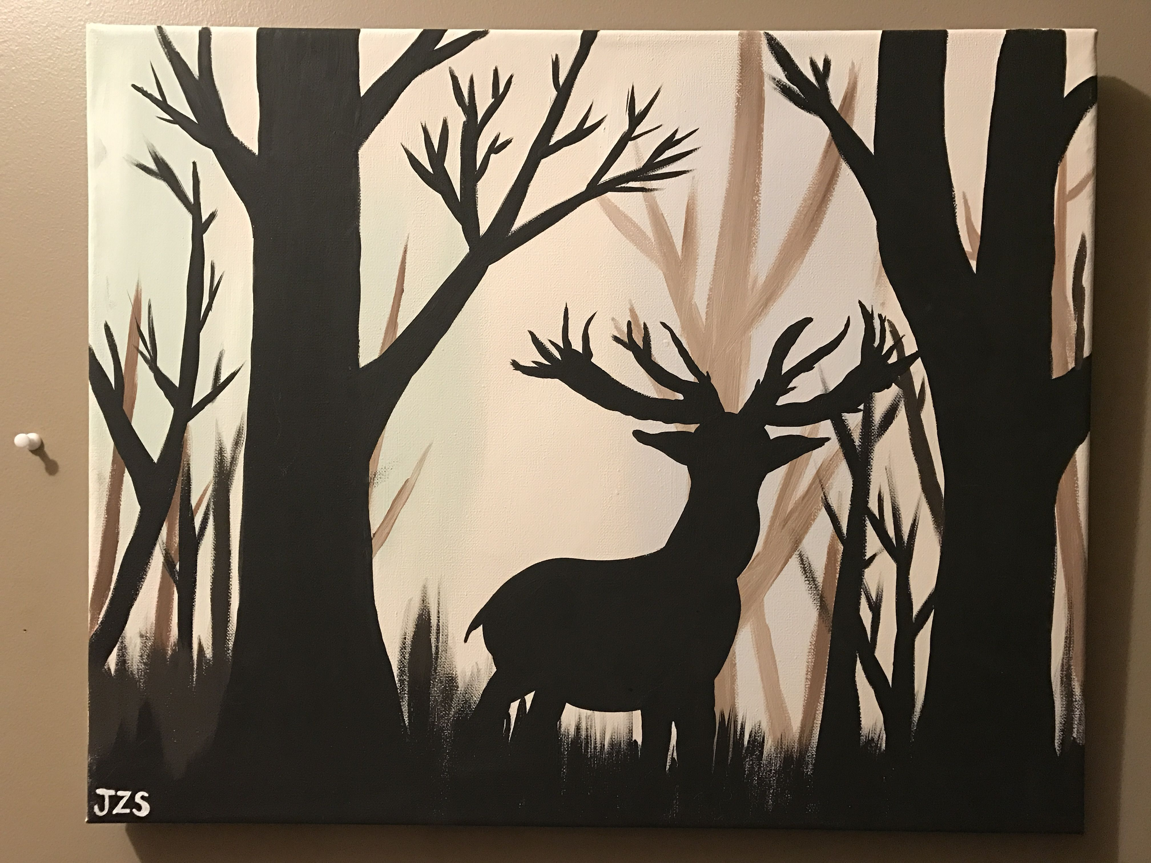 Deer silhouette in the wood acrylic painting canvas | Painted by me ...