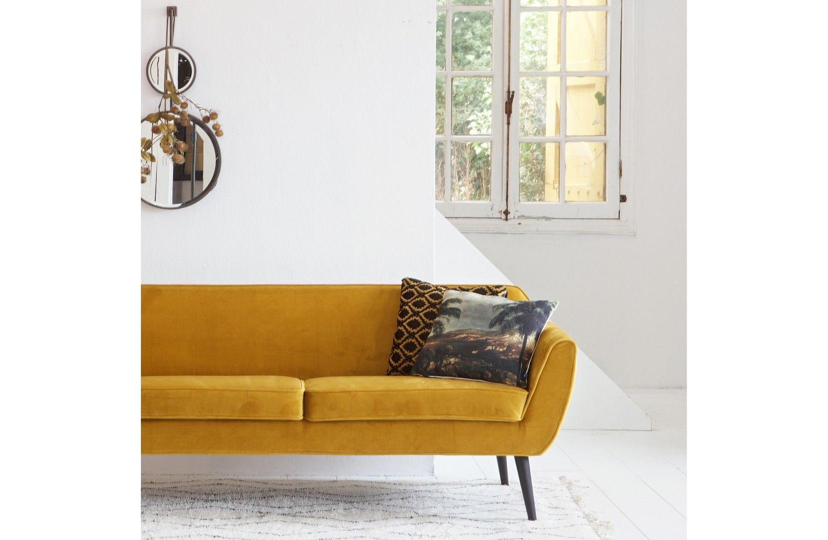 Retro Sofa Rocco Samt Ocker 3-Sitzer | Retro sofa, Retro und Der stil
