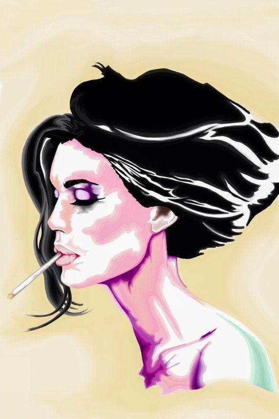 Retro Pinup Girl Smoking Cigarette Poster Print // Boho Art ...
