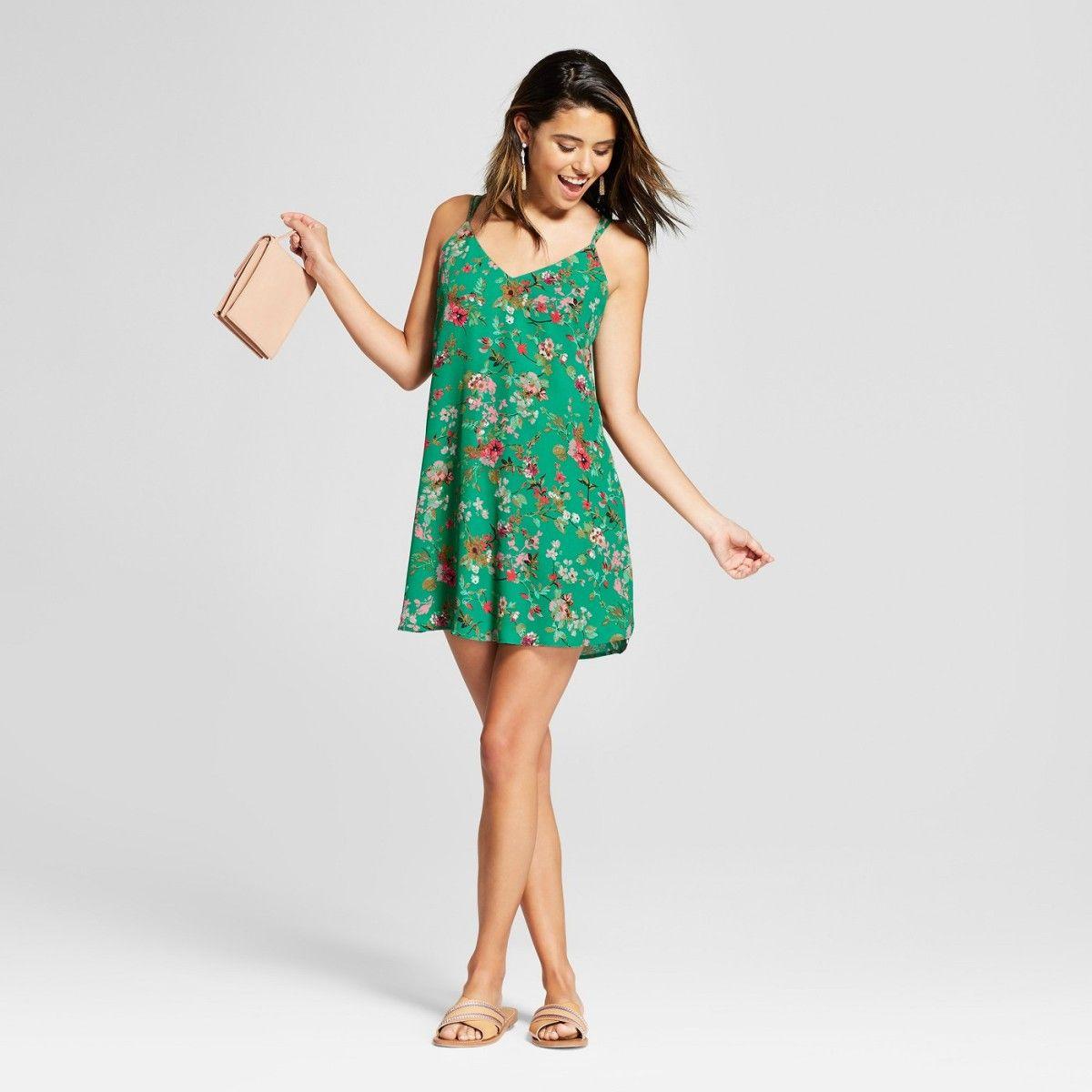 Target Floral Print Green Xhilaration Shift Dress Shift Dress Dresses Fashion [ 1200 x 1200 Pixel ]