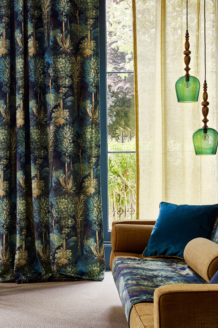 Forest Fabric Just Fabrics In 2020 Luxury Bedroom Decor Luxurious Bedrooms Blue Velvet Curtains
