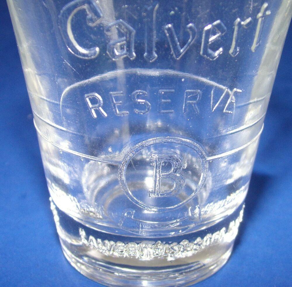 Calvert Reserve Whiskey Shot Glass Embossed Letter B