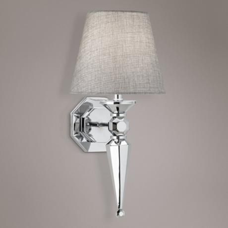 """Bathroom Light Fixtures With Fabric Shades textured fabric shade 17 1/4"""" high chrome wall sconce 
