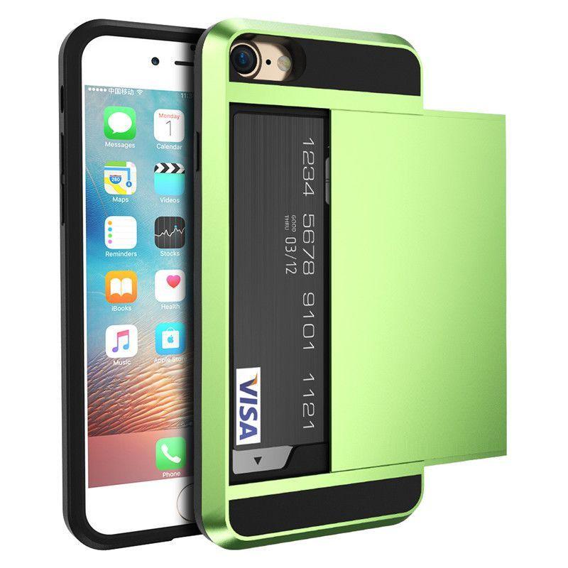 slide storage new hybrid tough case with slide storage card holder for iphone 7