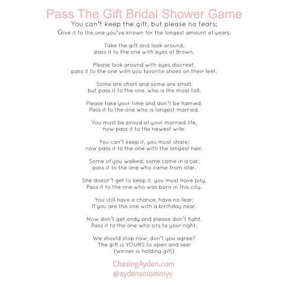 pass the gift bridal shower game free printable