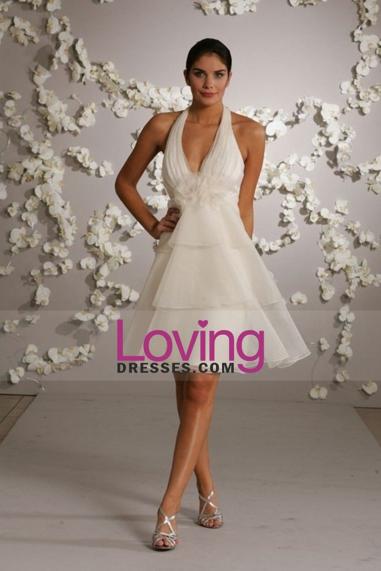 Glamorous A Line Halter Knee Length Organza Wedding Dresses