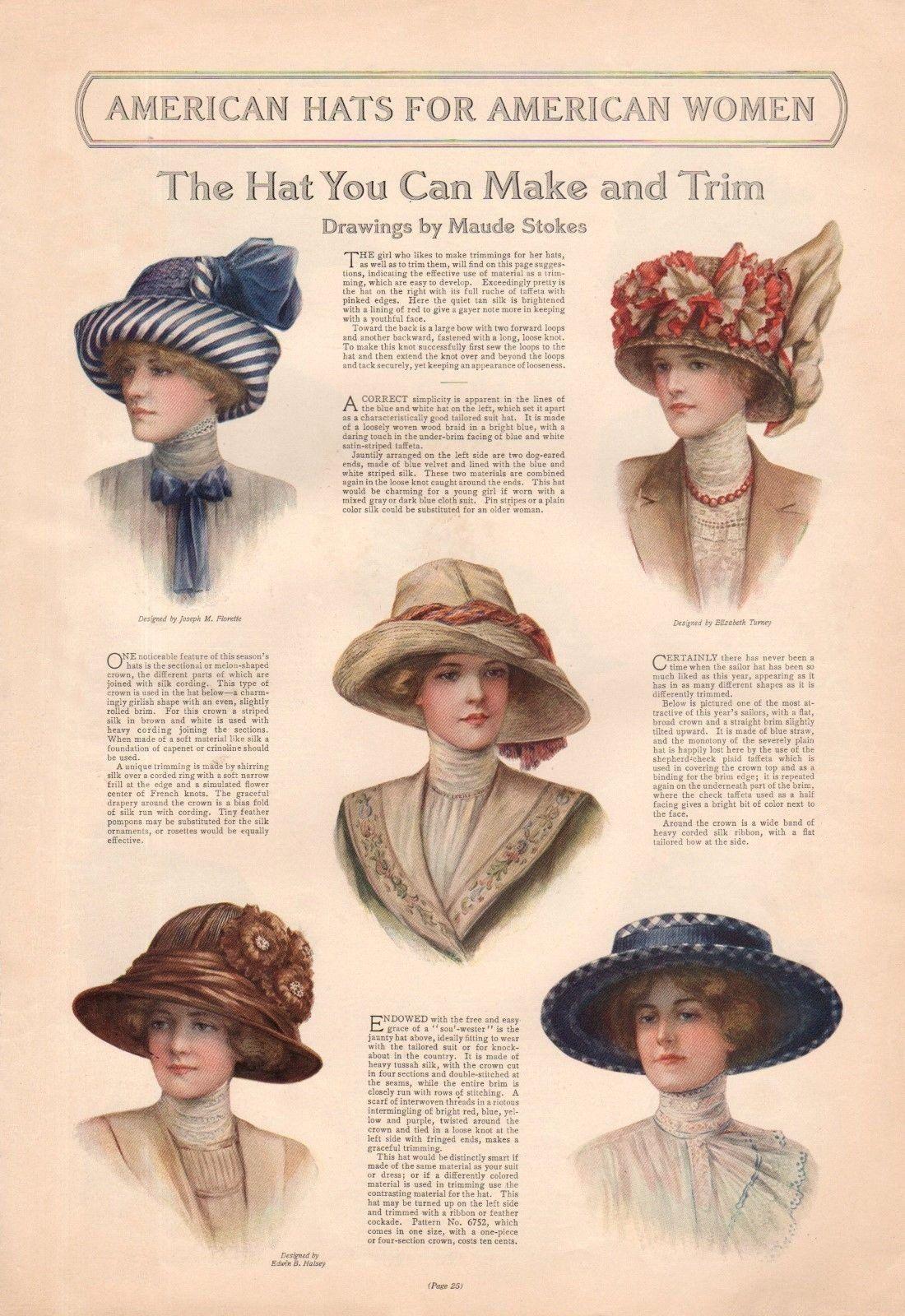 1912 Ladies Home Journal Spring Hats Historical Hats Hats Vintage [ 1600 x 1100 Pixel ]