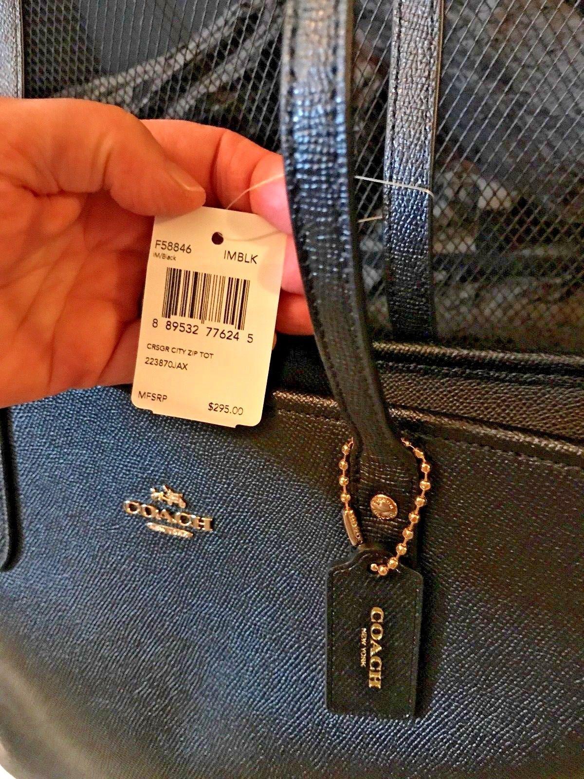 9a4960becbd0 NWT  2232 Coach 58846 City Zip Tote Crossgrain Leather handbag Black  115.0