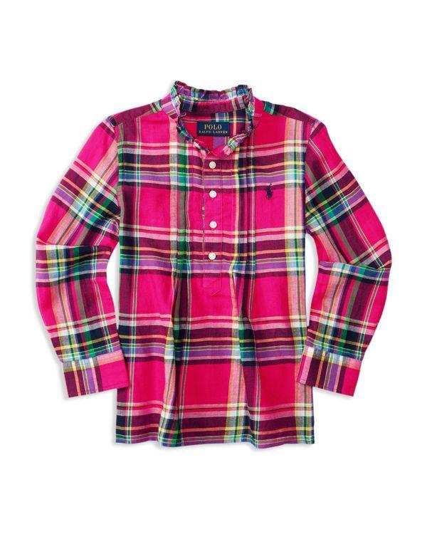 Ralph Lauren Girls Plaid Button Down Tunic Shirt Size 6X