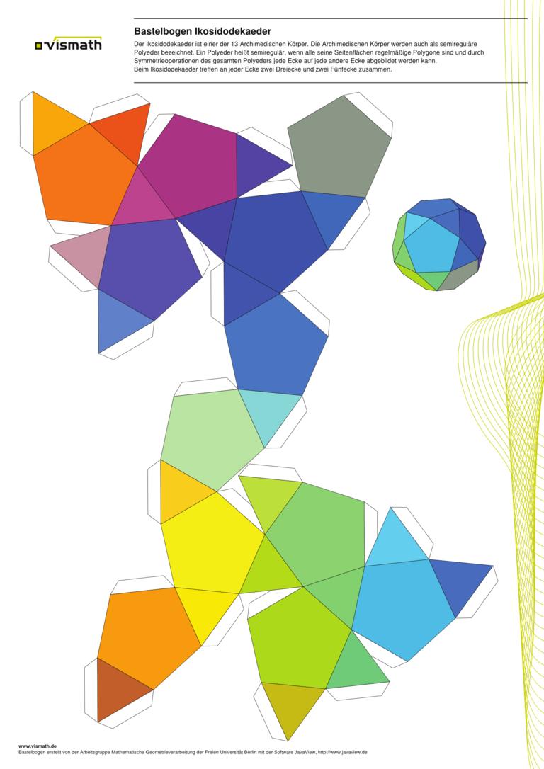 Bastelvorlage Ikosidodekaeder | Körper basteln | Pinterest ...