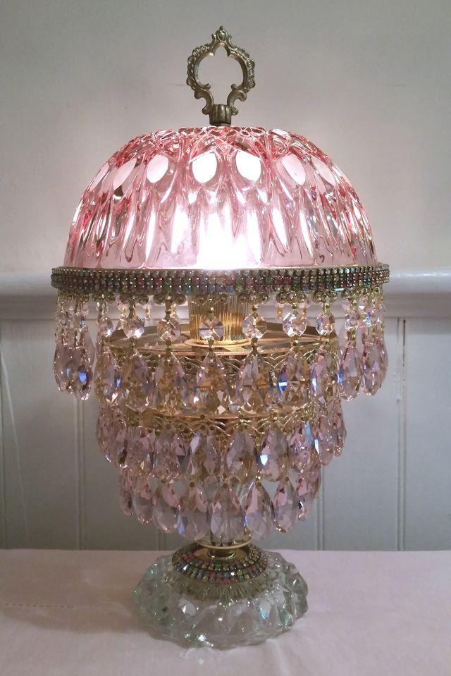 Vintage Pink Crystal Lamp Cranberry Lamp Jeweled Crystal Lamp