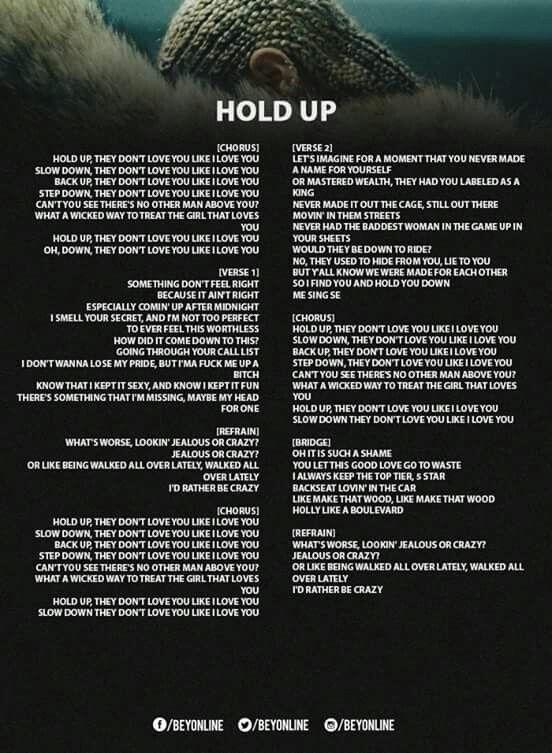 b12162fd7560c Hold Up Lyrics. Hold Up Lyrics Hold Up Beyonce Lyrics