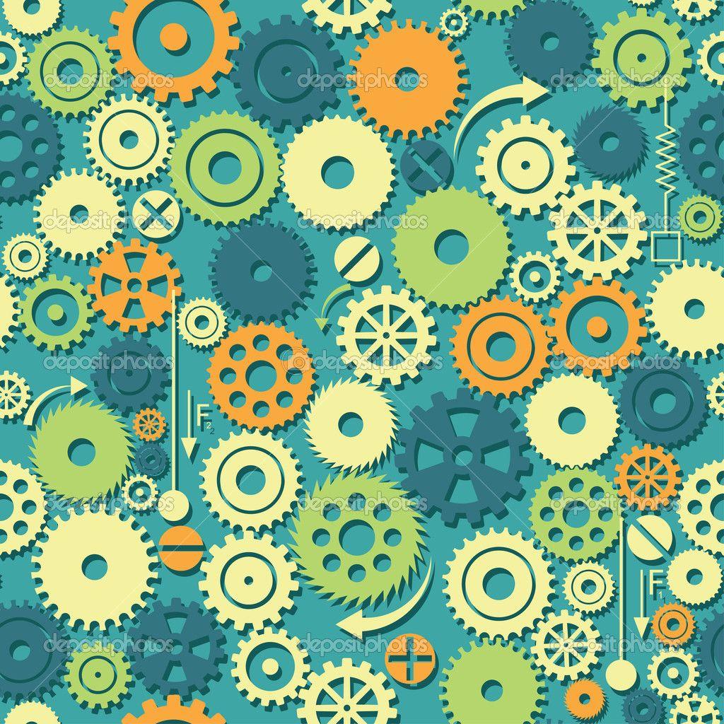 Fondo de engranajes — Vector stock © Vilisov #34836965 | Pattern ...