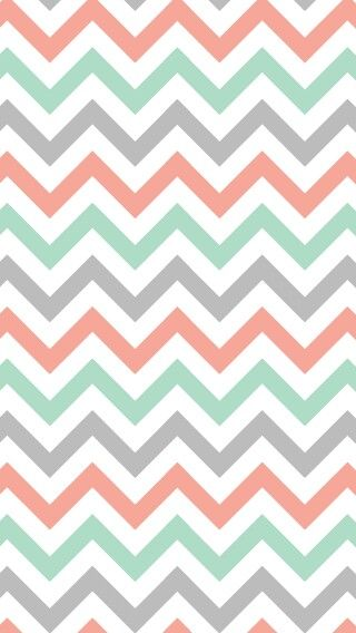 Coral Mint And Grey Chevron Phone Wallpaper IPhone Pattern