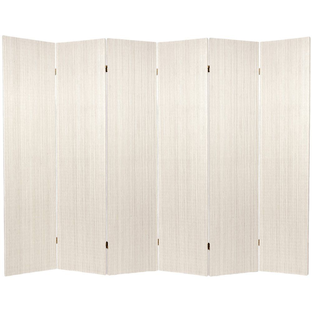 Oriental Furniture 6 ft. Tall Frameless Bamboo Room Divider - 6 Panel- White