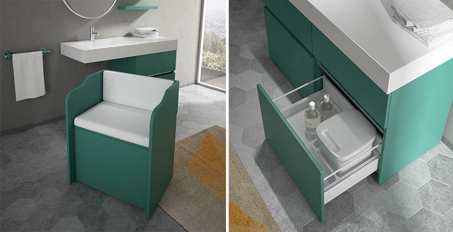 Bagno Verde ~ Mobile da bagno in colore verde scuro con cassettone portaoggetti