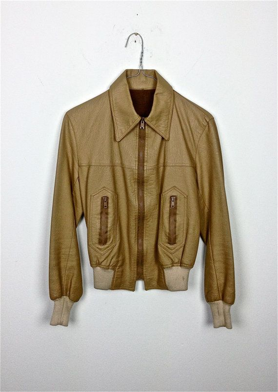 wonderfull! vintage beige leather motorcycle jacket rock punk 70 80 festival woman button  S