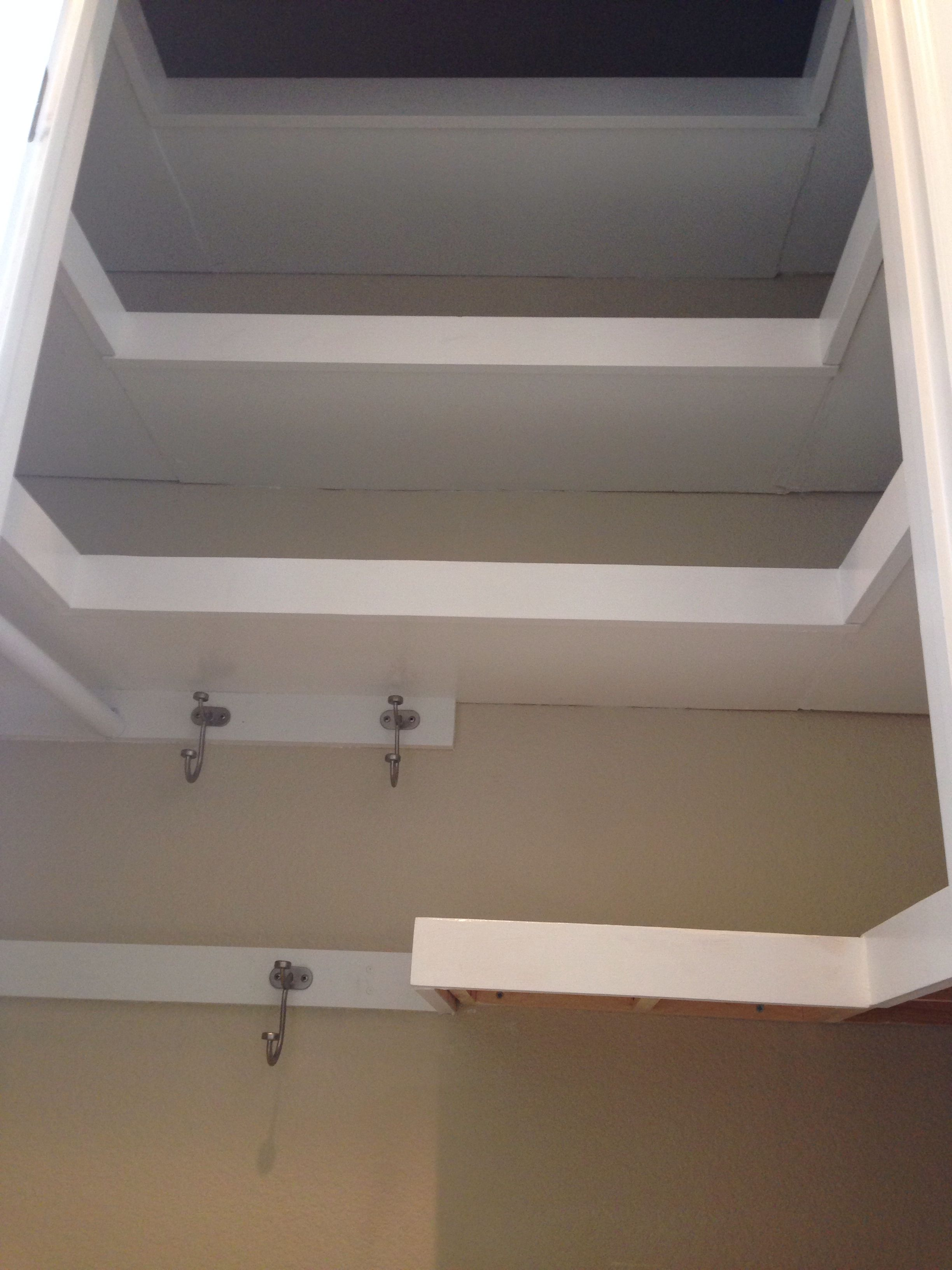 U Shaped Floating Shelves In Hall Closet Hall Closet