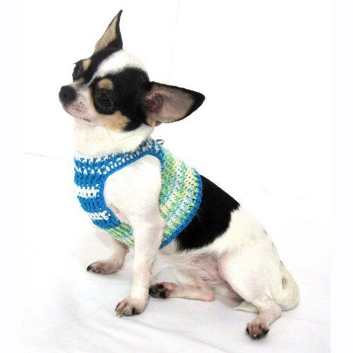 Myknitt Colorful Turquoise Handmade Crochet Dog Harness Vest