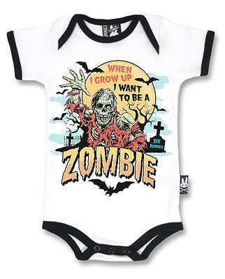 Black Zombie Print Bodysuit Horror Punk Goth Baby Rockabilly Tattoo