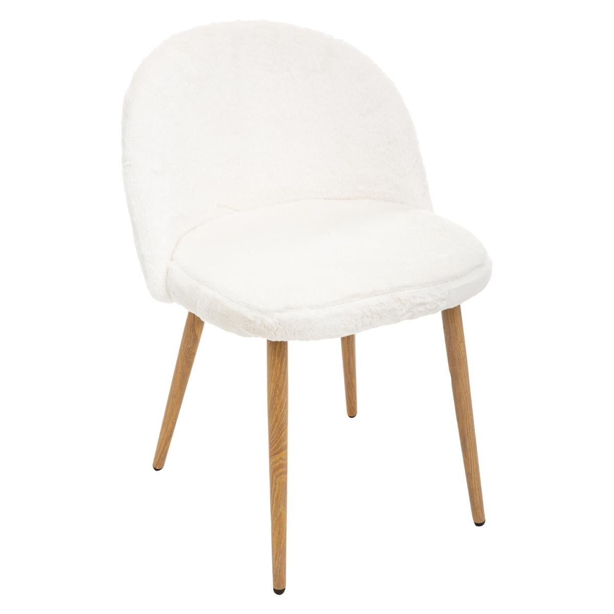 Chaise Fourrure Blanche Nael Atmosphera Fourrure Blanche Chaises Blanches Chaise