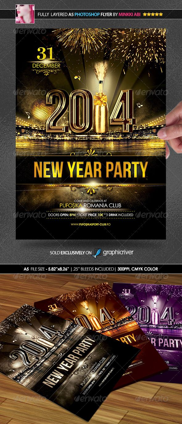 New Year Party PosterFlyer  Party Poster Print Templates And