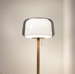 Ikea Evedal Floor Lamp Oak Grey Glass Lamp Floor Lamp Lamp Decor