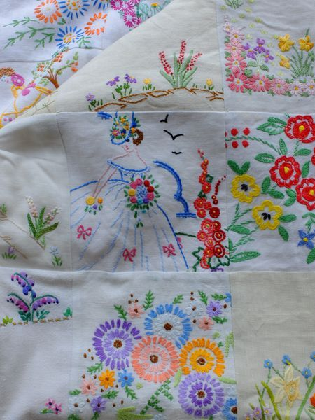 What A Lovely Quilt Made From Discarded Embroidered Tablecloths And  Pillowcases. What To Do With All Those Heirloom Linens I Have.