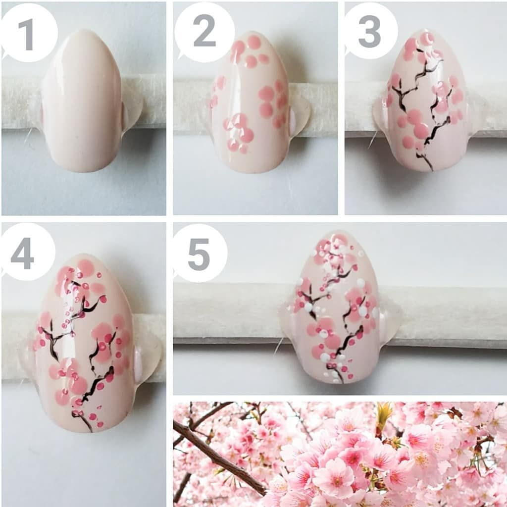 Cherry Blossoms 93915 Cherry Blossom Nail Art Nail Tutorial In 2020 Cherry Blossom Nails Floral Nail Art Flower Nail Art