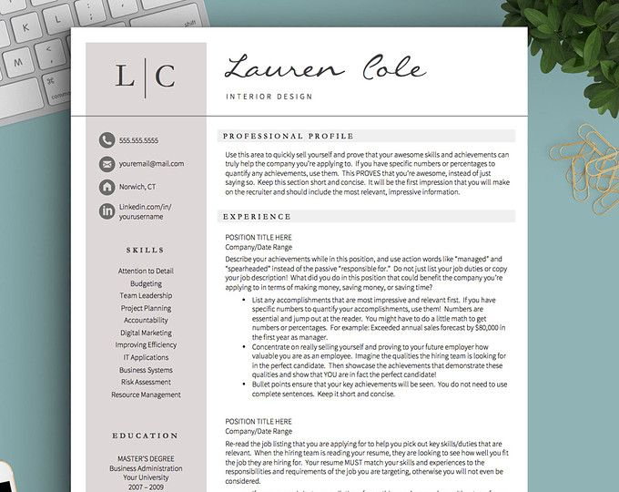 Resume Template Professional Resume Template CV Template for - resume 1 or 2 pages