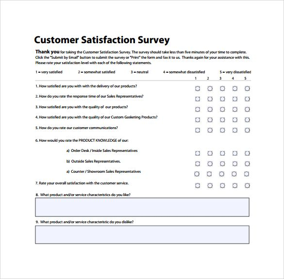 Customer Satisfaction Survey To Print Business