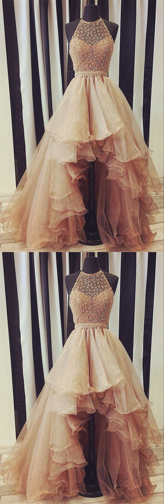 Sparkly sequin beaded halter organza layered prom dresses front