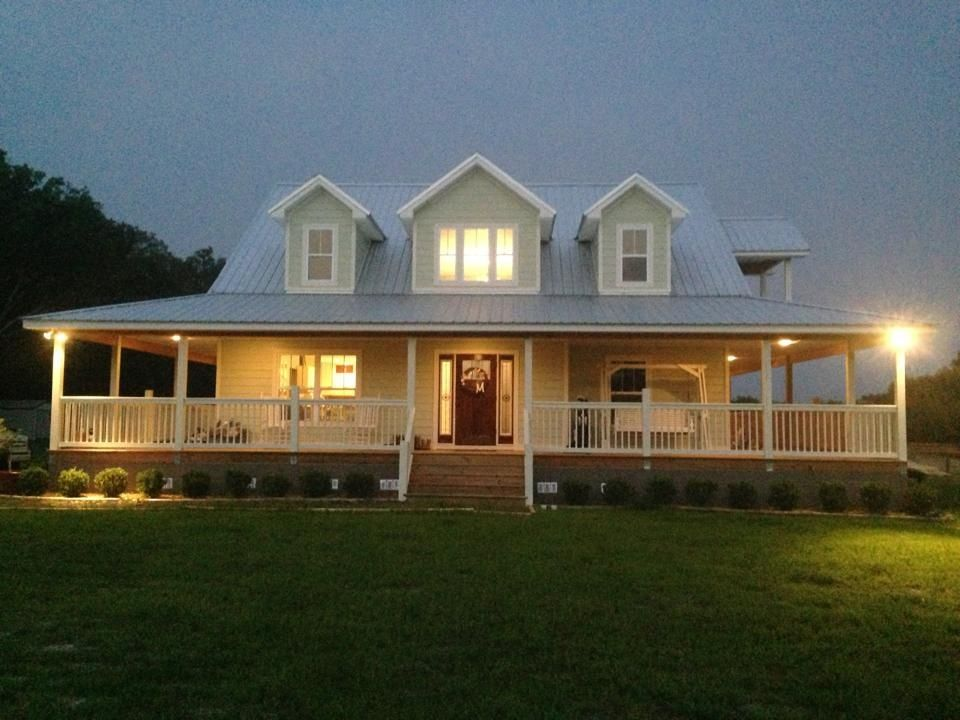 Our home wraparound porch green paint rustic house