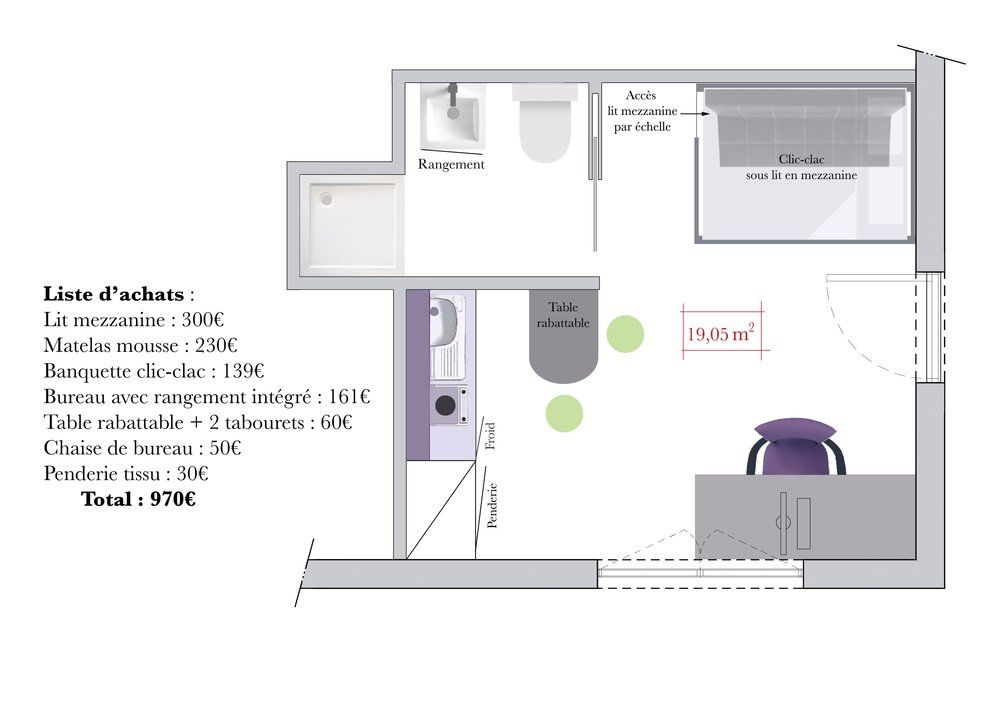Conseils d 39 architecte comment am nager un studio tudiant mezzanine - Amenagement chambre 20m2 ...