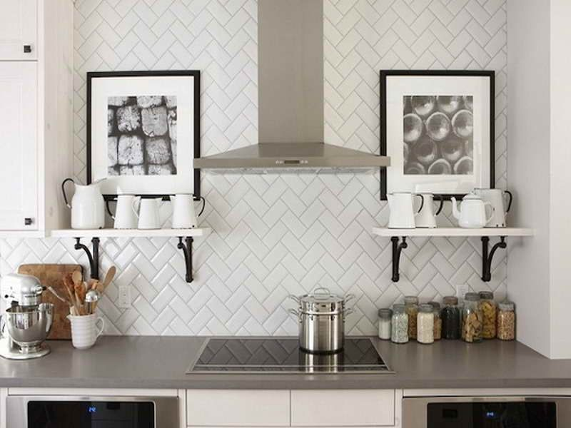 herringbone tile backsplash in the kitchen - decoist | herringbone