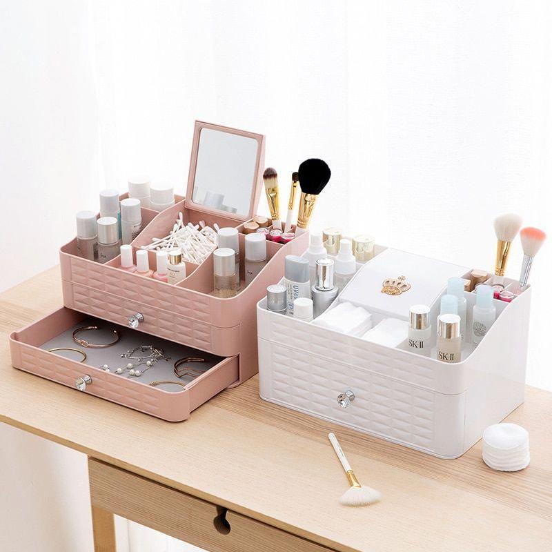 Makeup Organizer Box With Drawers Storage Organiser For Cosmetics Jewelry Display Storage Box Holder Desktop Display Storage Diy Makeup Storage Storage Drawers